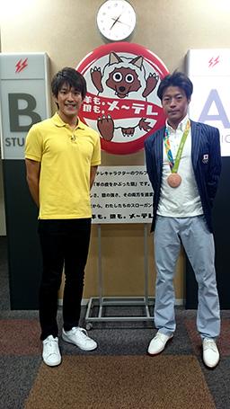 羽根田選手とメ~テレスタジオ前にて