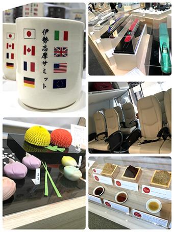 (左上から時計回りで)萬古焼の酒盃、(以下すべて模型)新幹線、「MRJ」客室、日本各地の味噌と醤油、季節の和菓子