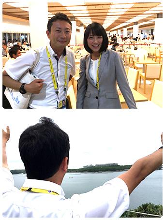 上:テレビ朝日・竹内由恵アナウンサーとIMCにて 下:首脳らの記念撮影の瞬間、志摩観光ホテルに手を振る筆者
