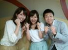 新人三人、東海三県を盛り上げていきます! 写真左が東海テレビの恒川英里アナ、 中央が中京テレビの松原朋美アナです。